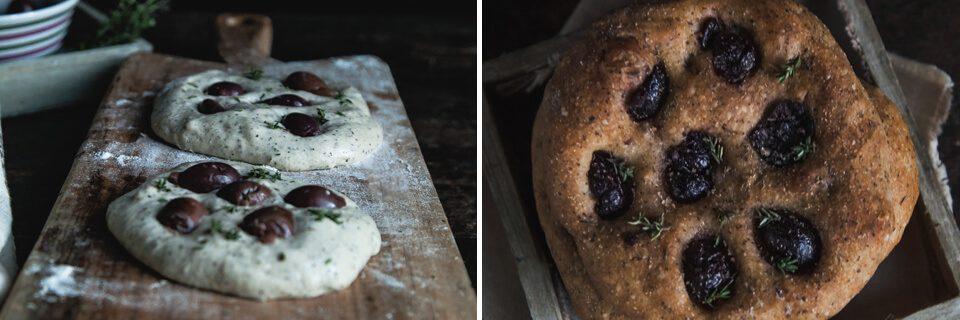 focaccine farina di canapa olive timo